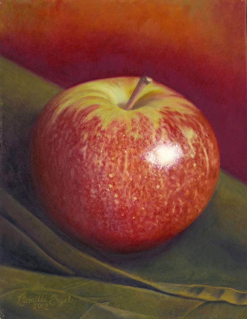 Red Apple on Green Napkin