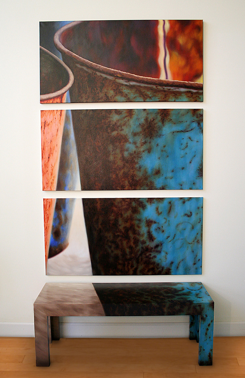 Colored by Time/19 Polyptych - Three Paintings with Matching Bench