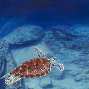 Sea Turtle Solitude (diptych)